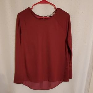 LOFT | Cranberry Red Blouse